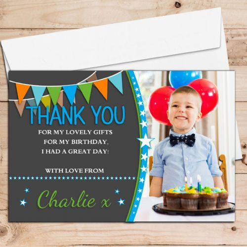 10 Personalised Boys Birthday Thank you PHOTO Cards N246 - Stars & Bunting Style